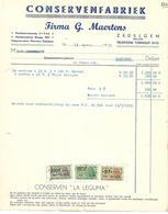 "Zedelgem   (Factuur)  *   Conservenfabriek  G. Maertens - Conserven ""La Leguma"" - Belgium"