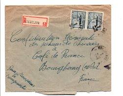 BELGIQUE AFFRANCHISSEMENT COMPOSE SUR LETTRE RECOMMANDEE DE ROESELARE POUR LA FRANCE 1946 - Bélgica