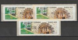 FRANCE - 3 VIGNETTES 0,51€, 0,56€ ET 0,90€ - LE SALON DU TIMBRE PARIS 2010 - 2010-... Illustrated Franking Labels