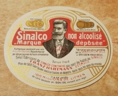 Etiquette Lithographie SINALCO Non Alcoolisé Getränkeetikett  Alkoholfrei Franz Hartmann DETMUND Sanatorium BILZ 1904/06 - Etiquettes