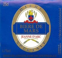Ancienne étiquette BIERE F7 FRANCE BRASSERIE GRAIN D'ORGE ANCIENNE JEANNE D'ARC BIERE DE MARS - Cerveza