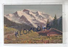 "Suisse  Dessin "" Type "" Aquarelle - La Jungfrau  Vers Wengen - Chalet  Chemin - Illustrateur Inderbeger - CPSM Série 235 - BE Berne"