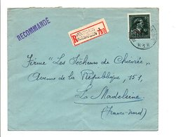 BELGIQUE LETTRE RECOMMANDEE DE MOUSCRON POUR LA FRANCE 1949 - 1946 -10%