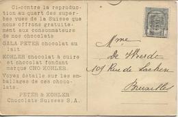 REF693/ TP 81 Roulette Jodoigne-Geldenaken 1911 S/CP Publicitaire Peter & Kohler Chocolats Suisses S.A > Bruxelles - Precancels