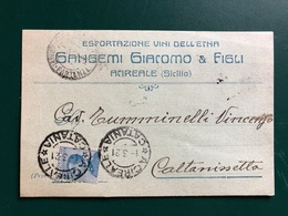 ACIREALE (CATANIA) ESPORTAZIONE VINI DELL'ETNA  GANGEMI GIACOMO & FIGLI  1921  UVA VINO - Acireale