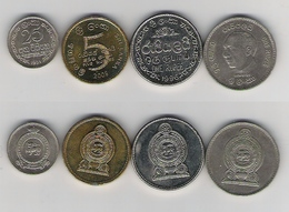 Sri Lanka  5 Rp. 2008, 1 Rp. 1996, 1 Rupee 2004 Jayawardene, 25 Ct. 1971 - Sri Lanka