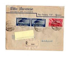 P0120 RACCOMANDATA 1946 POSTA AEREA RONDINI COPPIA L. 2 + L. 10 CHIUDILETTERA MOSTRA FILATELICA MILANO 1946 - 6. 1946-.. Repubblica