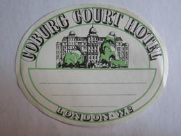 Publicité > Etiquettes D'hotels étiquette Hôtel Cobourg Court Hôtel London Londres - Etiquettes D'hotels
