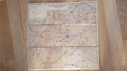 VALLEE DE MUNSTER ET TROIS EPIS CARTE TOILEE 1926 CLUB VOSGIEN DE MUNSTER IMP. JESS COLMAR  40 X 40 CM - Carte Topografiche