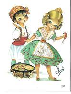 Carte CPM Fantaisie Brodée Illustrateur ELSI N° L 29 Couple Espagnol Préparant Une Paella - Brodées