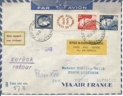 1949 - N°833A  Bande INCOMPLETE - Oblitérée (o) Sur Lettre PAR AVION AIR FRANCE Vers AUTRICHE - NON RECLAME - RETOUR - France