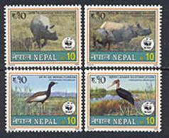 NEPAL 2000 - W.W.F. - Faune - Oiseaux Et Rhinocéros - 4 V. - Neufs