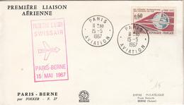 Première Liaison Aérienne SWISSAIR  PARIS-BERNE ( Enveloppe) - Sin Clasificación