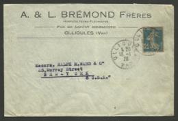VAR / Enveloppe Commerciale BREMOND Horticulteurs - Fleuristes à OLLIOULES Pour USA / 1920 - Marcophilie (Lettres)