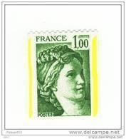 YT 1981A Sabine De GANDON, 1,00 Vert Provenant De Roulettes Avec 2 BANDES DE PHOSPHORE Voir Scan. SUPERBE VARIETE RARE. - Variétés Et Curiosités