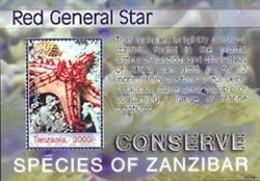 TANZANIA 2006 - Espèces De Zanzibar - étoile De Mer Red General Star - Bloc - Marine Life