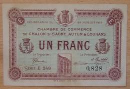 Chalon-sur-Saône Autun Et Louhans ( 71  ) 1 Franc Chambre De Commerce 22 Juillet 1919 - Chamber Of Commerce
