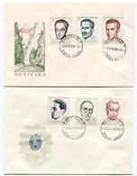 YUGOSLAVIA 1968 National Heroes Set On Two FDCs..  Michel 1307-12 - FDC
