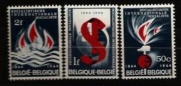 Belgique Belgie 1964 N° 1290 / 2 ** Socialisme, Internationale Socialiste, Feu, Flammes, Caducée, Santé, Marteau, Terre - Belgique