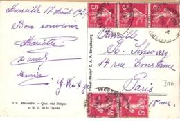 TYPE SEMEUSE CAMEE N°278B X 5 SUR CP DE MARSEILLE ST GINIEZ/17.8.35 - 1906-38 Semeuse Camée