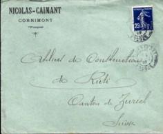 TYPE SEMEUSE CAMEE N° 140 SUR LETTRE DE CORNIMONT/4.12.07 POUR LA SUISSE - 1906-38 Semeuse Camée