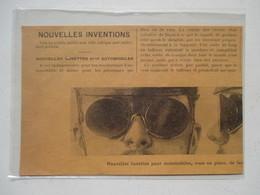 Voiture  Nouvelle Lunettes Pour Automobile    - Coupure De Presse De 1901 - Lunettes De Soleil