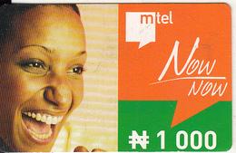 NIGERIA - Woman, Mtel Prepaid Card N1000, Used - Nigeria