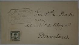 O) 1873 CIRCA - SPAIN, MURAL CROW - SC 190 1/4c Green, TO BARCELONA, GALERIA DRAMATICA MANUEL R. DELGADO - LOGO, XF - 1872-73 Königreich: Amédée I.