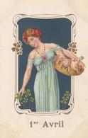 1er AVRIL: Jeune Fille Avec Trois Petits Cochons Dans Une Corbeille (carte Gaufrée) - 1er Avril - Poisson D'avril