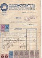 1933 ROMANIA, TIMIȘOARA, CHURCH BELL MAKER, ANTON NOVOTNI INVOICE ON COMPANIES LETTERHEAD, 10 REVENUE STAMPS - Covers & Documents