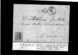 CG29 -  Lettera Da Arona Per Novara 20/12/1867 - Marcophilia