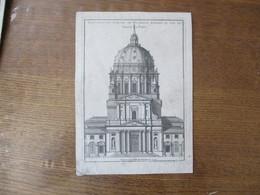 ELEVATION DU PORTAIL DE L'ABBAYE ROYALE DU VAL DE GRACE A PARIS LEVE DESSINE GRAVE PAR PIERRE MOREAU 1736 22cm/16cm - Estampes & Gravures