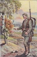 AK Auf Posten - Deutscher Soldat Und Soldatengrab - Künstlerkarte - 1. WK  (48670) - Guerre 1914-18