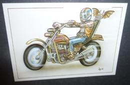 Carte Postale - Moto Harley Davidson - Dessin De Bernard Veyri - Veyri, Bernard