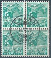 Pilatus 195, 5 Rp.grün  VIERERBLOCK  Twann           1935 - Switzerland