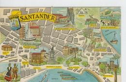 Postal 6621 : Plano Ciudad Y Monumentos De Santander - Cartes Postales