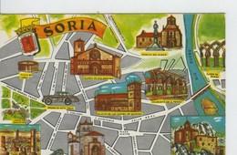 Postal 6624 : Plano Ciudad Y Monumentos De Soria - Cartes Postales