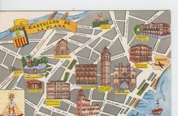 Postal 6638 : Plano Ciudad Y Monumentos De Castellon - Cartes Postales