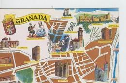 Postal 6653 : Plano Ciudad Y Monumentos De Granada - Cartes Postales