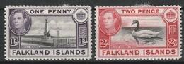 FALKLAND 1940-49 YT N° 90 Et 91 * - Falkland