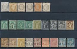 FRANCE - LOT DE 23 TIMBRES + 1 ESSAI CLASSIQUES NEUFS**/*/(*)  POUR ETUDE - 1853/1892 - France