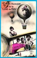 """CPA Couple """"A L'Ascension De La Lune De Miel"""" (montgolfière) Enfants Avion Ballon Photo-Montage - Parejas"""
