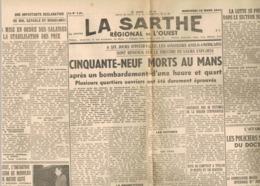 D72. LA SARTHE REGIONAL DE L'OUEST. MERCREDI 15 PARS 1944. LE MANS. - Centre - Val De Loire