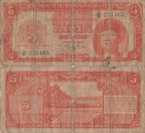 Indonesia / 5 Rupiah / 1950 / P-36(a) / VG - Indonesia