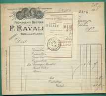35 Noyal Sur Vilaine Ravalet Fromagerie Bretonne ( Facture De Camemberts Saint Victor Prieur Récépissé Poste Jarnac 1918 - Food