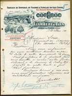 16 Jarnac Sur Cognac  Izambert Fabrique Tonneaux De Foudre, Bois Merrains Robinetterie ( Filigrane Main Franco Russe ) - Alimentaire