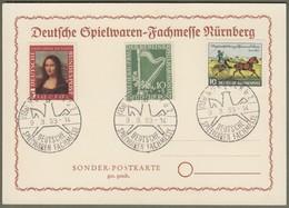 """Bund Berlin: Sonderkarte Mi.-Nr. 148+160 U. B. 72 SST: """" Spielwaren-Fachmesse Nürnberg 1953 """" !      X - Gebraucht"""
