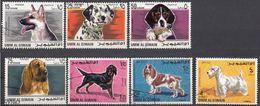 UMM AL QIWAIN - 1967 - Lotto Di 7 Valori Usati: Michel 210/213 E 215/217, Raffiguranti Cani Di Razza. - Umm Al-Qiwain