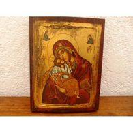 Icone Vierge Marie Enfant Jesus Peinture Bois - Otros
