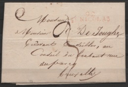 """L. Datée 1813 De St-NIKLAAS Pour BRUXELLES - Griffe Rouge """"92/St-NICOLAS"""" - Port """"3"""" - 1794-1814 (Période Française)"""